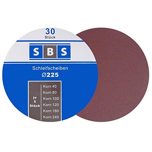 SBS® Schleifscheiben Klett-Schleifpapier Ø 225 mm 30 Stück Körnung je 5 x 40/60/80/120/180/240