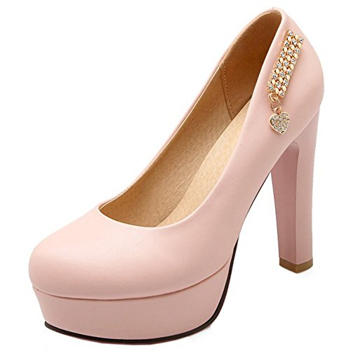 TAOFFEN Damen Basic Closed High Heel Pumps Plateau Slip On Schuhe Pink