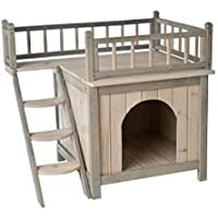 Casa de madera para perros o gatos, para usar en el interior del hogar, acabado en color gris y blanco Con una terraza y un dormitorio acogedor, ...