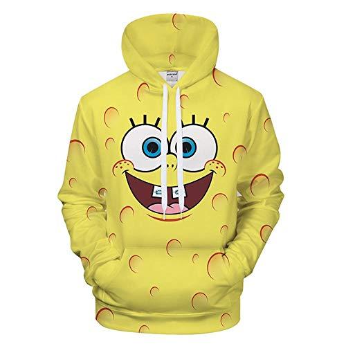 Xdai 3D Herren-Sweatshirt Hoodie Kapuzenpullover Atmungsaktives Weich Lange Ärmel Polyester 0.5KG Spongebob Squarepants S - Spongebob Pullover Hoodie