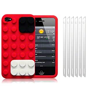 iPhone 4S / iPhone 4 Brick Style Silicone Skin Case / Cover / Shell - Red + 6-in-1 Screen Protector Pack