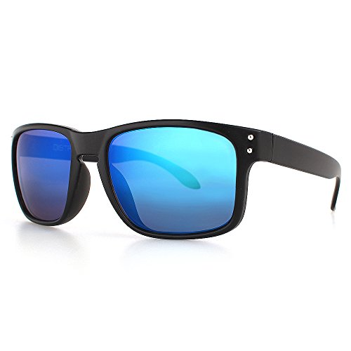 DISTRESSED Superior Sonnenbrille Sportbrille verspiegelt oder getönt - viele Farben (sw-blau-verspiegelt)