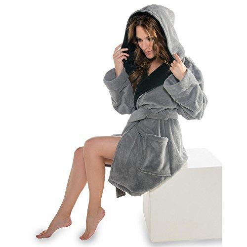 Trendiger Kapuzen-Bademantel für Damen | Größe XS - XXXL in modernen Farben | Mikrofaser, Coralfleece, Gewicht ca. 260g/m² | Sauna-Mantel CelinaTex 5000325 Miami | M anthrazit schwarz