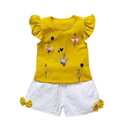 Gyratedream Sommer Kinder Baby Mädchen Casual Cartoon Muster Flare Sleeve Tops T-Shirt + Shorts Anzüge Kostüm Set (Baby Touch Sommer-monitor)