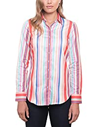 ad399bb9 HAWES & CURTIS Womens Red & Turquoise Multi Stripe Semi Fitted Shirt Single  Cuff