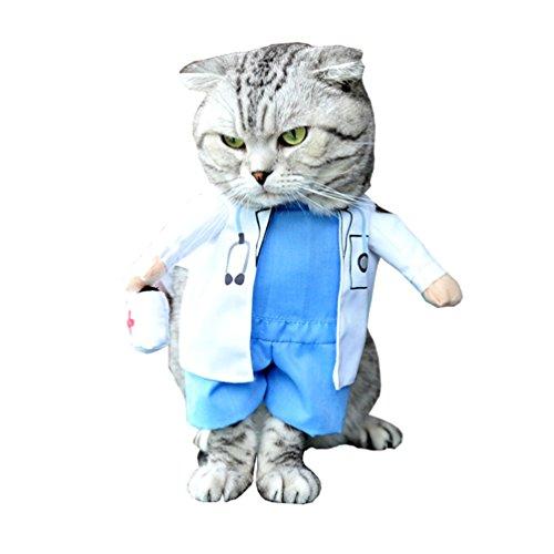 smalllee _ Lucky _ store Kleiner Hund Kleidung für Mädchen Jungen Katze Hund Doctor Kostüm Fancy Kleid Hundemantel Cape alle Jahreszeiten Blau Weiß