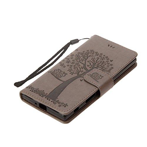 ISAKEN Custodia per Sony Xperia XZ con Strap, Elegante borsa Tinta Unita Farfalla Design in Sintetica Ecopelle PU Pelle Protettiva Portafoglio Flip Case Cover con Supporto di Stand / Carte Slot / Chiu Gatto: grigio