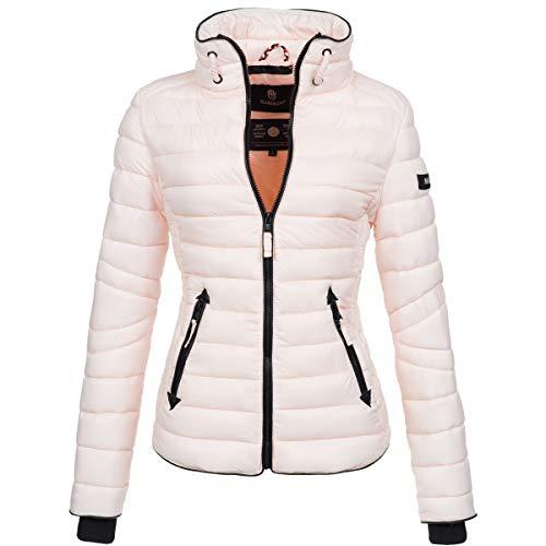 Marikoo Damen Jacke Steppjacke Übergangsjacke gesteppt mit Kordeln Frühjahr Camouflage B405 [B405-Lola-Rosa-Gr.XS]