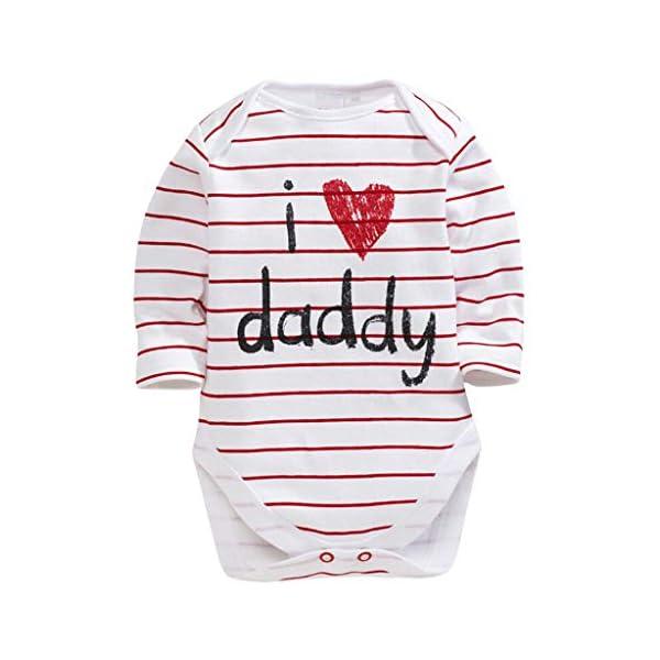 MAYOGO Mameluco Bebe Ropa Bebe Te Quiero Mama Mangas Largo Disfraz Bebe Niña Raya Ropa para Bebes Recien Nacidos Pelele… 3