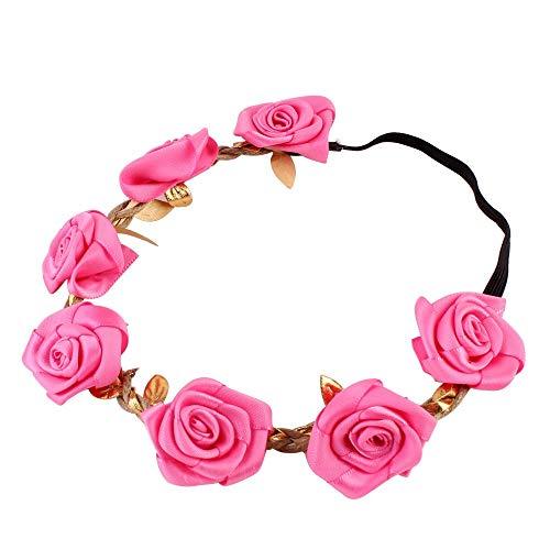 Kfang-headbands, Mädchen Blumenstirnband Rose Floral Stirnbänder für Mädchen Kinder Boutique elastische Blume Headwear Haarbänder Zubehör (Color : Rose)