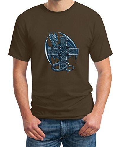 Kultiges Geschenk mit Keltenkreuz und Drachen T-Shirt Small Braun (Herren-braun-drache-shirt)