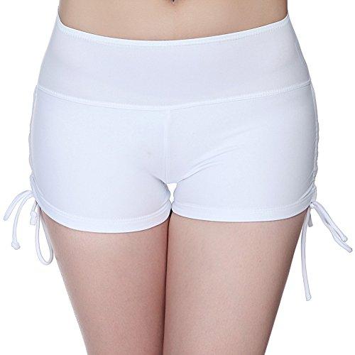 DELEY Donne Ragazze Tinta Unita Disegnare Stringa Breve Costumi Da Bagno Beach Bikini Mare Piscina Pantaloncini Yoga Running Pantaloni Bianco