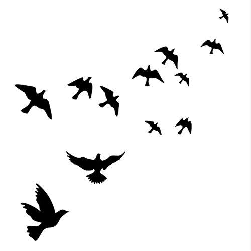EJY Schwarze fliegende Möwe Wandtattoo Wandaufkleber Wall sticker Aufkleber DIY für Wohnzimmer Schlafzimmer Kinderzimmer (Wandtattoo Möwen)