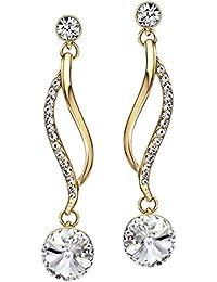 Neoglory Jewellery Swarovski Eléments Or 14K Boucles d'Oreilles Elégantes Bijoux En Coffret Femmes