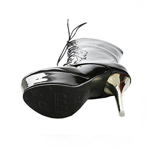 YE Damen Extrem High Heels Plateau Lack Stiefel mit Schnürung Stiletto 14cm Absatz Boots Party Schuhe Schwarz