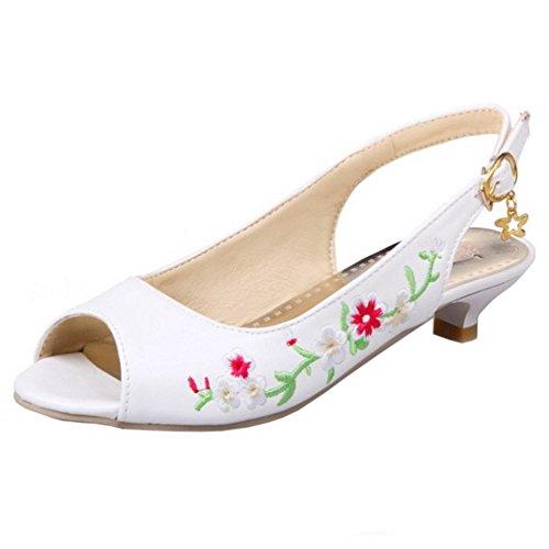 COOLCEPT Femmes Mode Slip On Sandales Peep Toe Slingback Talon bas Chaussures Blanc