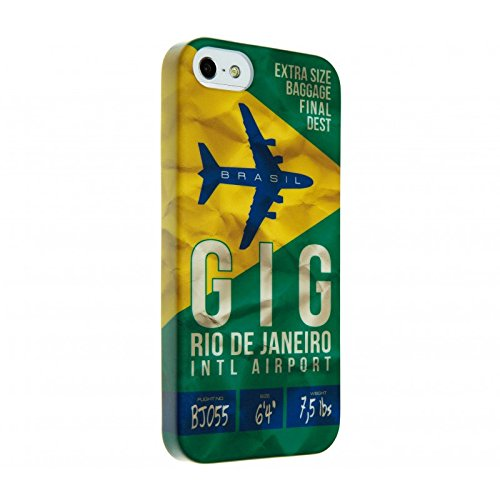 Softschale, Hülle Grün für iPhone 5/5S mit Airline Ticket nach Rio de Janeiro (Airline Ticket)