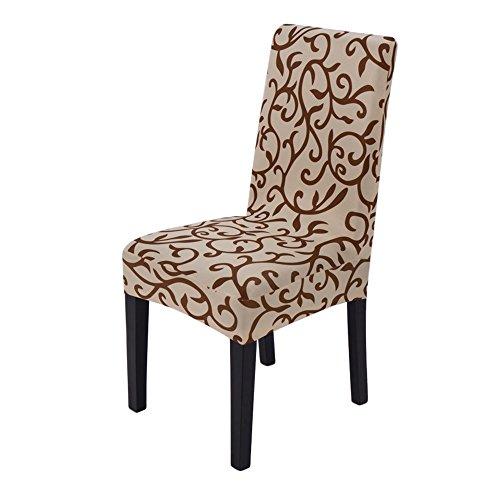 NoBrand Super En forme Amovible Lavable Court Chaise de salle à manger Couverture Protecteur Housse (Café)
