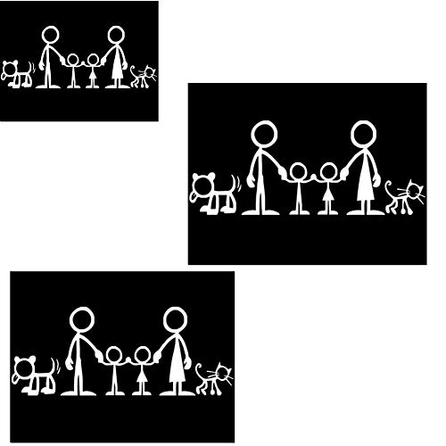 Fully 3 Stücke Katze Hund Familien Vinyl Sticker Aufkleber Auto Laptop Motorad Helm Fenster Wand (Weiß, 18 X 9 cm/7.08 X 3.54) (Weiße Katze-laptop-aufkleber)