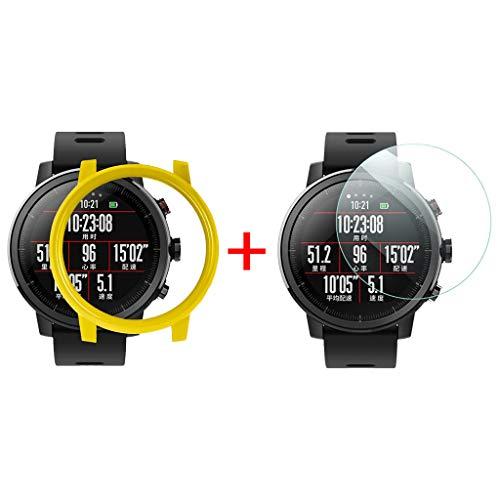 Für Xiaomi Huami AMAZFIT 2 / 2S Stratos Uhr Colorful Watch Schutzhülle All-Around Case Fall Abdeckung【mit Displayschutz】 (Gelb)