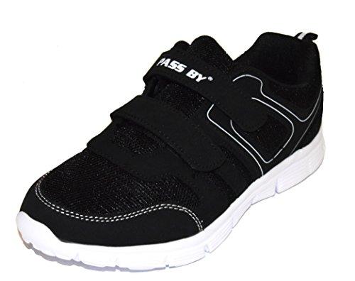 TMY 5778–41–Scarpe da ginnastica per uomo e donna, colore nero/bianco con Velcro, misura: 36–46 Schwarz/ Weiss