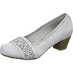 Living Updated 61.223 Damen Pumps Strass Absatz Holzoptik Grau/Grey