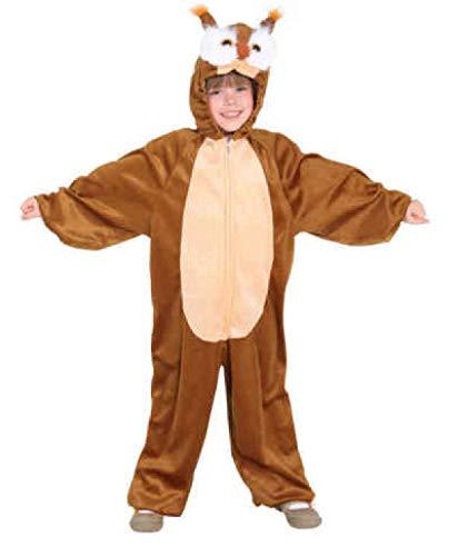 -104-A braun Mädchen Junge Kinder Eulen Kostüm-Overall Gr.98-104 ()