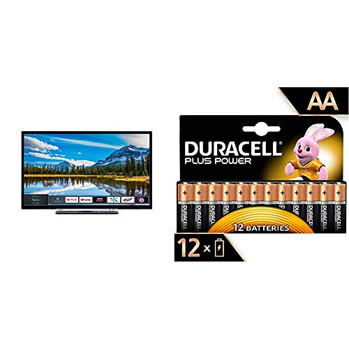 ToshibaToshiba 32L3863DBA 32-Inch Smart Full-HD LED TV with Freeview Play - Black/Silver (2018 Model) & Duracell MN1500 Plus Power AA Size Batteries--Pack of 12Duracell