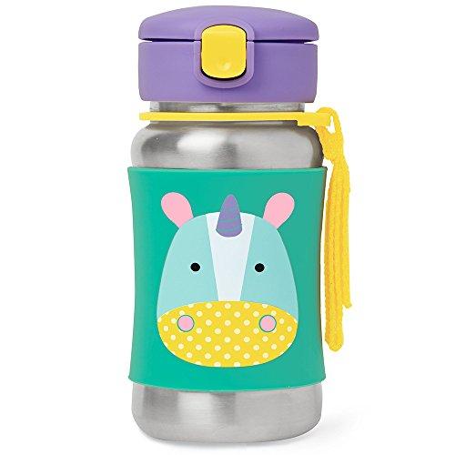 Skip Hop Zoo Stainless Steel Unicorn Straw Bottle, Multi