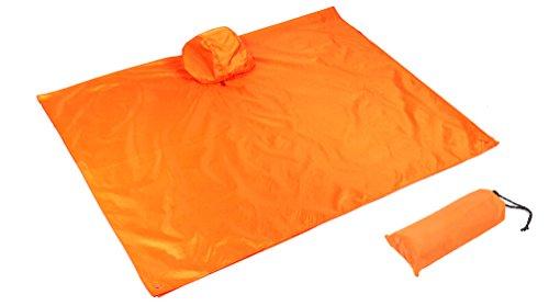 Legen Kapuze (qseven Multifunktional leichter Regenmantel mit Kapuze Wandern Radfahren Regen Poncho Regen-Mantel Outdoor Camping Zelt Matte, Orange)
