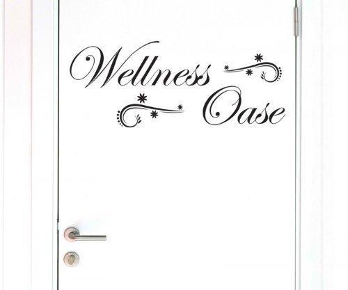 Türaufkleber Wellness Oase / Blume Bad Tür Wandtattoo Spruch Klo Aufkleber 3D269