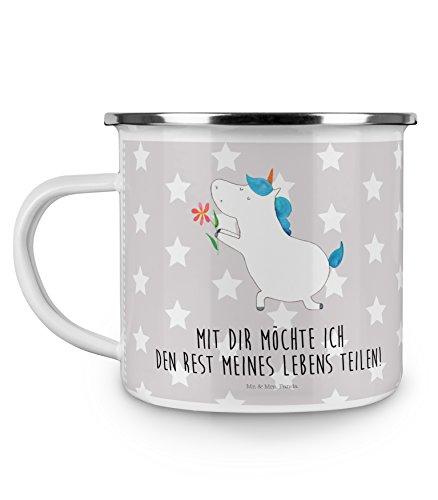 Mr. & Mrs. Panda Metalltasse, Kaffeebecher, Emaille Tasse Einhorn Blume mit Spruch - Farbe Grau...