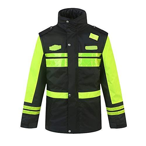 Qi Peng Reflektierende Baumwolljacke - Road Traffic Duty Reflektierende Jackenjacke Männliche Straßensicherheit Fluoreszierende dicke Baumwolljacke Verdickung Inner Abnehmbarer Ärmel Reflektierende We
