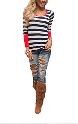 Blansdi Femmes manches longues Splice Casual Couleur Pure T-Shirt Blouse Violet
