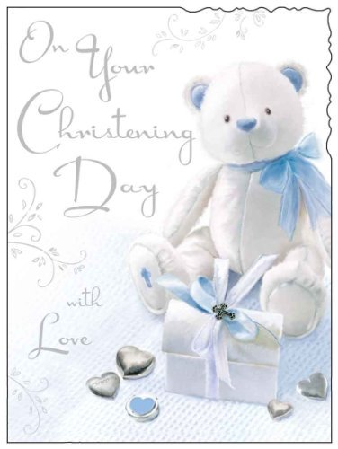 Jonny Javelin Card Co Boy Teddy Christening Day Card
