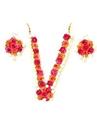 Floret Jewellery Mogra Pink Orange Flower Jewellery Set With Earrings For Women & Girls (Mehandi/Haldi/Bride)