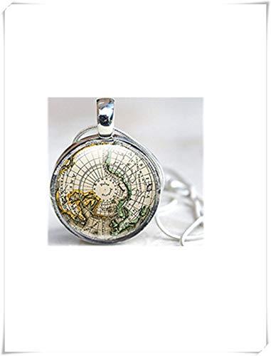 Leonid Meteor Dusche Karte Halskette, Weltkarte, Antike Karte, Vintage Globe Halskette, Pure handgefertigt