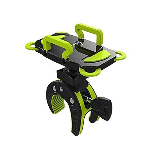 ihens5 Bike Mount, Bike Phone Halterung Motorrad Kinderwagen Fahrrad Handy Halterung Wiege mit Kautschuk Band 360Dgree Drehen für iPhone 6S Plus 5S 5SE HTC Sony Samsung, Grün
