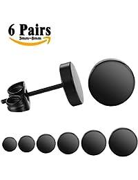 LIEBLICH Edelstahl mini Ohrstecker schwarze Ohrringe für Männer und Frauen Durchmesser 6 Paare 3mm-8mm