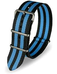 Davis - Bracelet Montre Nato Nylon Noir et Bleu 22mm Haute Qualité