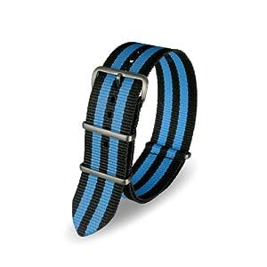 Davis – Armband Uhr Nato Nylon Schwarz und Blau 22 mm Hochwertige Qualität