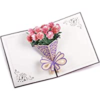 Caramella Bubble Carnation Pop Up Card | 3D Greeting Card | Flower Anniversary Card (Carnation Red)