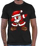 HARIZ  Herren T-Shirt Dab Weihnachtsmann Nikolaus Weihnachten Dab Teenager Trend Halloween Inkl. Geschenk Karte Schwarz L