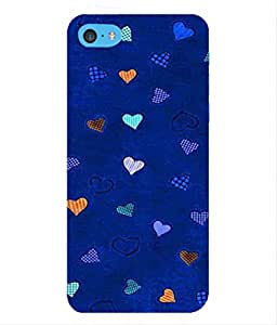 For Apple iPhone 5c -Livingfill- Patchwork Fabric Hearts Printed Designer Slim Light Weight Cover Case For Apple iPhone 5c (A Beautiful One of the Best Design with a Classic Theme & A Stylish, Trendy and Premium Appeal/Quality) (Red & Green & Black & Yellow & Other)