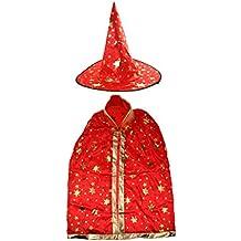Blesiya Set Di 2 Pezzi Cosplay Halloween Costume Mantello Cappuccetto Strega - Rosso