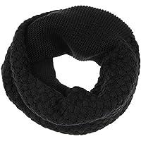 KEOIWDIE Hombres de Las Mujeres de Invierno Cálido de Lana de Punto Círculo Infinito Bufanda Chal de Cuello (Negro)
