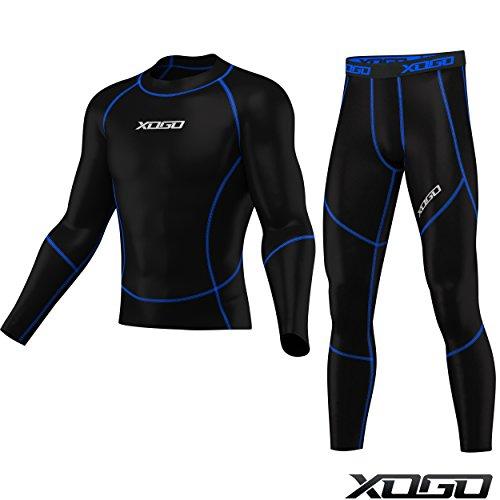 Herren Kompression Armour Base Layer Top Skin Fit Shirt + Leggings Set - schwarz / blau - S