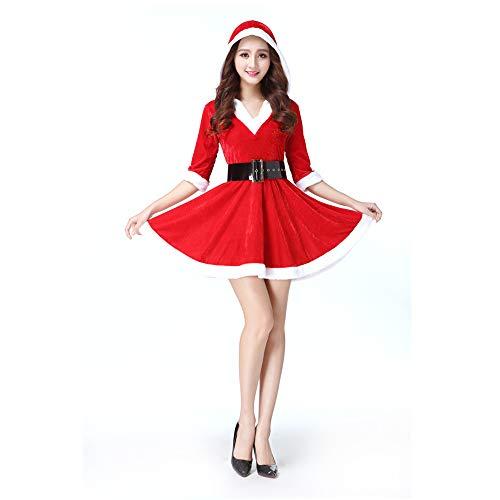 WFhome Weihnachts-Kostüm Mrs Santa Claus, Cosplay-Kostüm für Weihnachten, Party, Kostüm, Einheitsgröße Stil C Style C