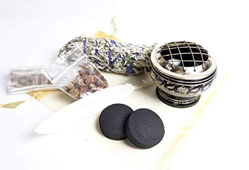 Zen House Blessing Kit - Reinigen Sie Ihr Zuhause von negativer Energie - Salbei - rohes Weihrauch & Myrrhe - Kohle - Brenner - Anleitung - weiße Feder - Erzeugt Positive Energie -