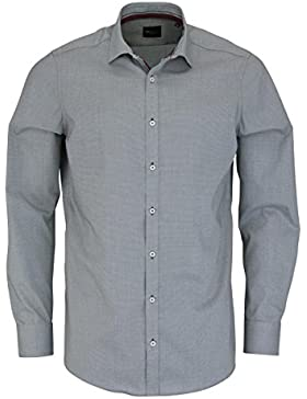 VENTI Slim Fit Hemd Langarm New Kent Kragen Muster schwarz